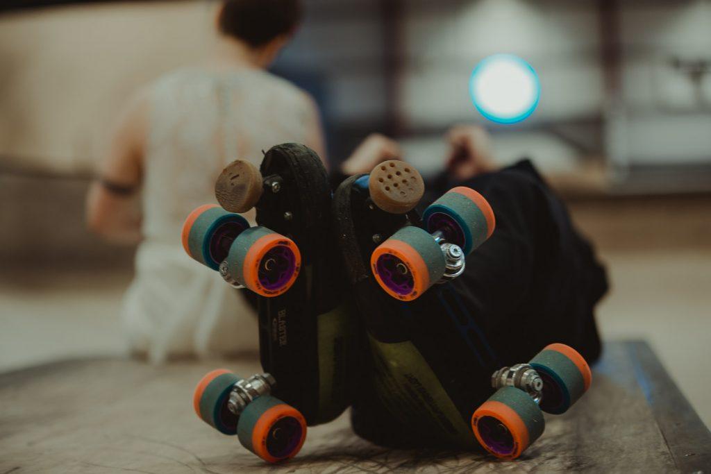 skates and a wedding dress