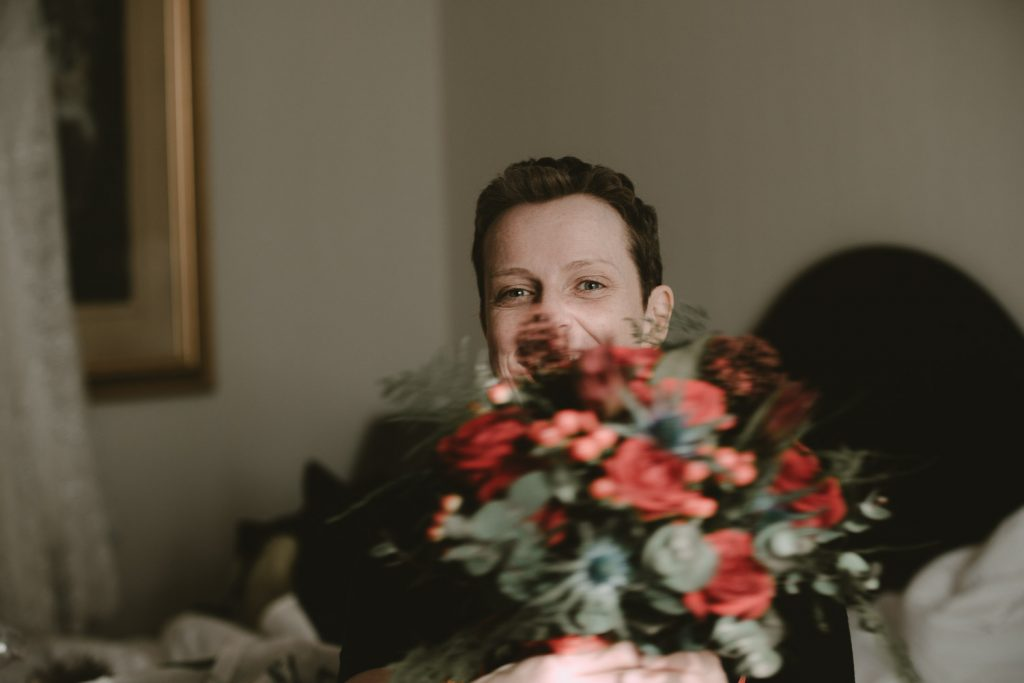 bride with her newly arrived bouquet