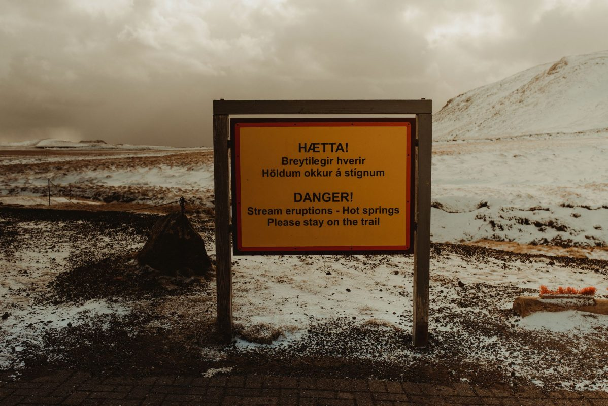 Iceland warning sign