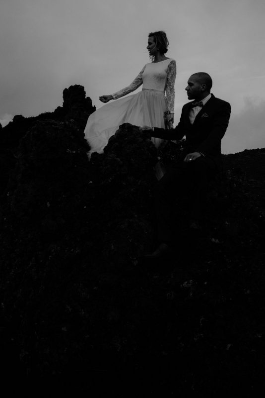 Snaefellsnes elopement - black and white photo of married couple