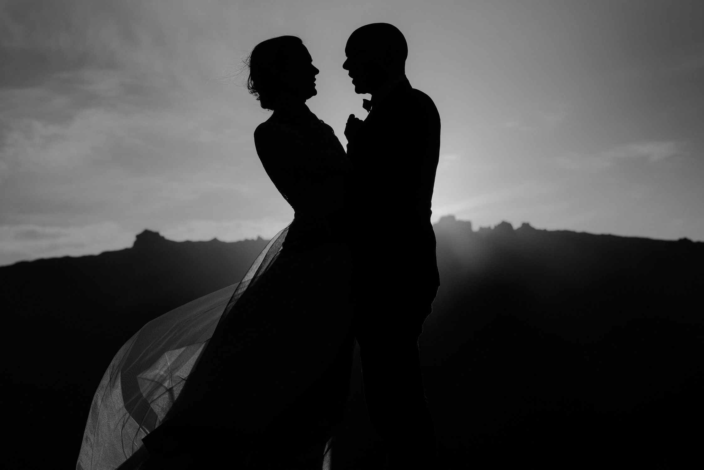 Snaefellsnes black and white silhouette of couple