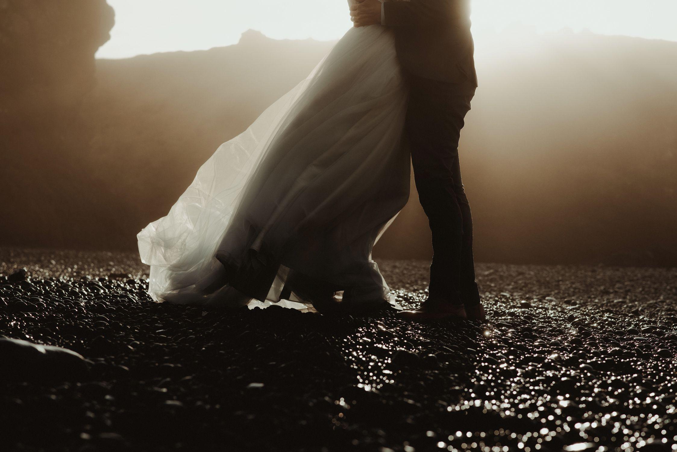 Snaefellsnes wedding dress in the wind