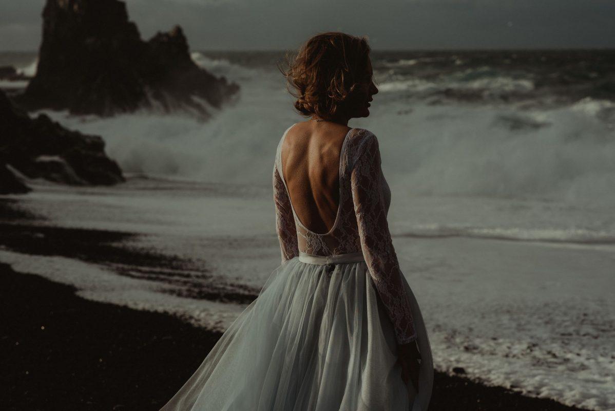 Snaefellsnes bride looking at sea in Iceland