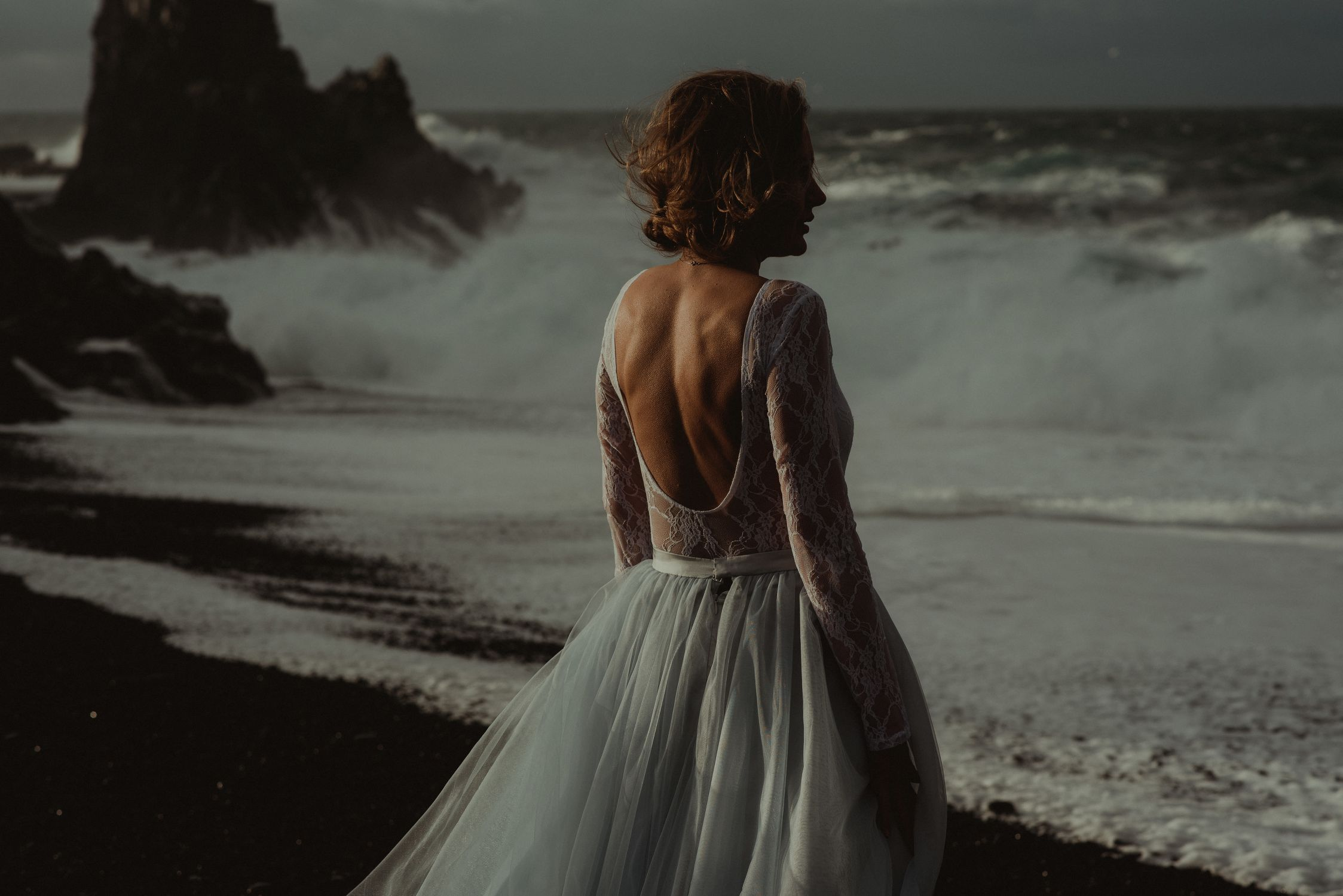 Snaefellsnes bride looking at sea in Iceland