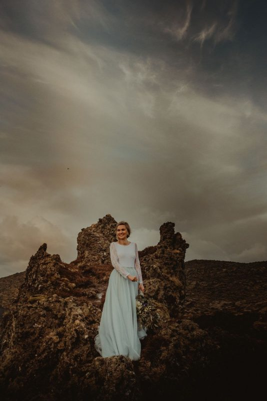 Snaefellsnes bride standing on the rock