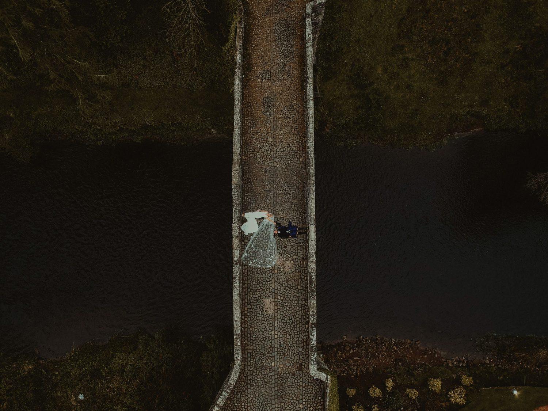 Aerial photo of a couple at Brig o Doon Wedding
