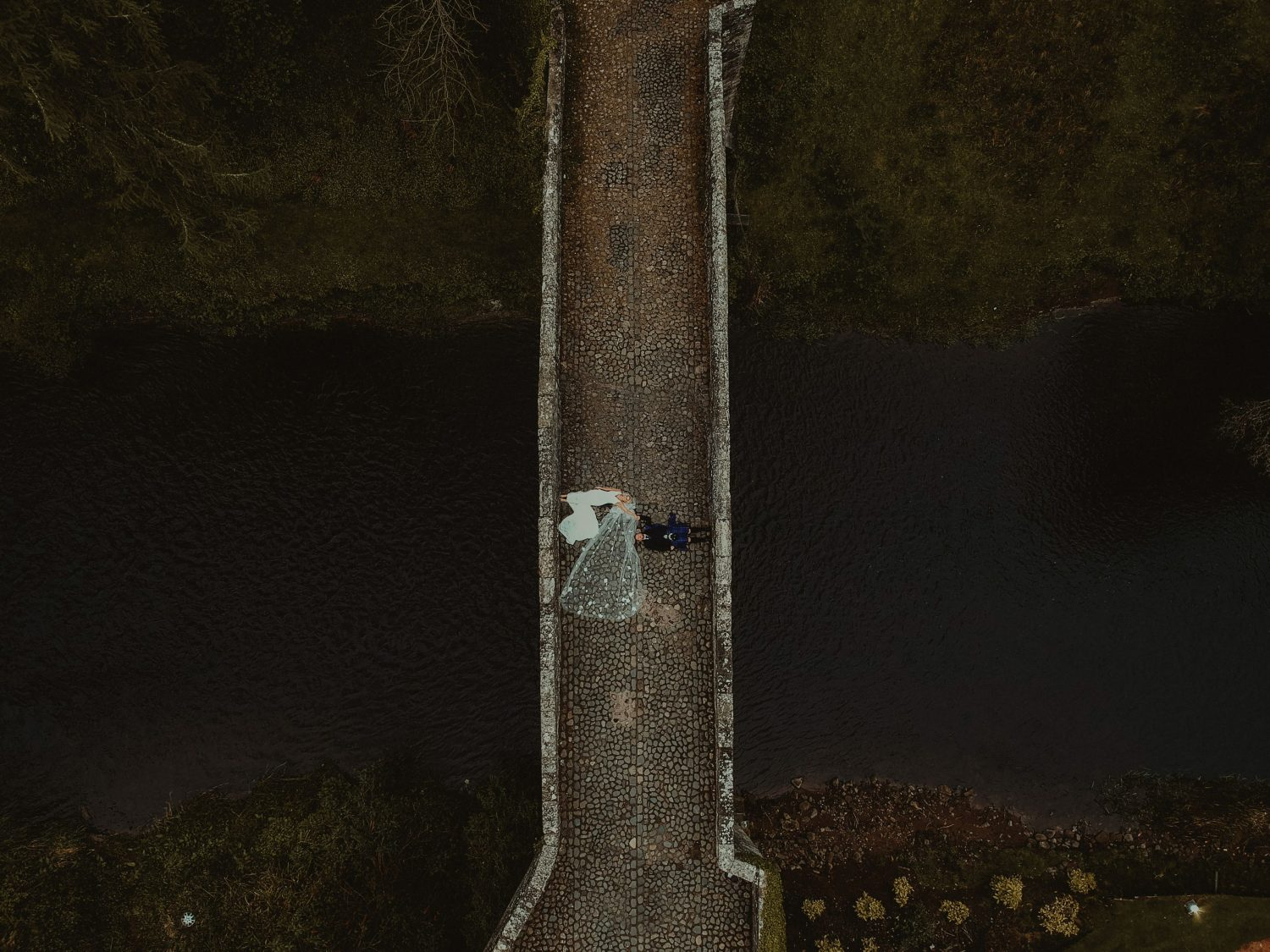 Aerial photo of a couple at Brig o Doon Wedding