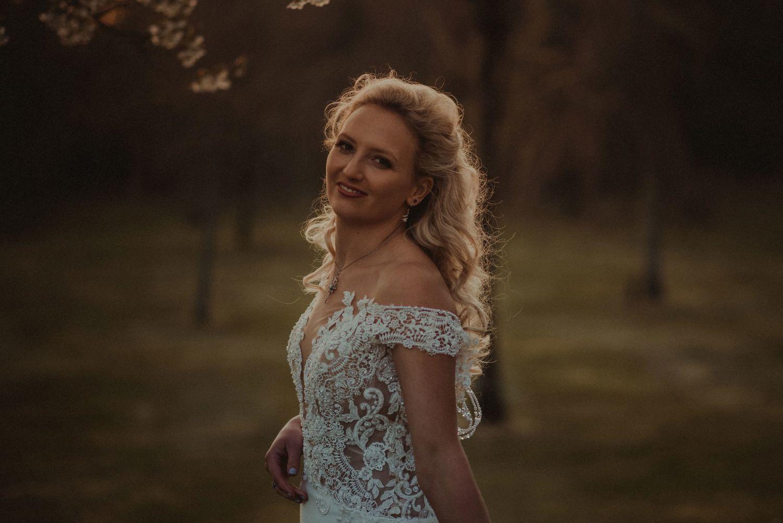 Bride's wedding portrait at Elsick House grounds