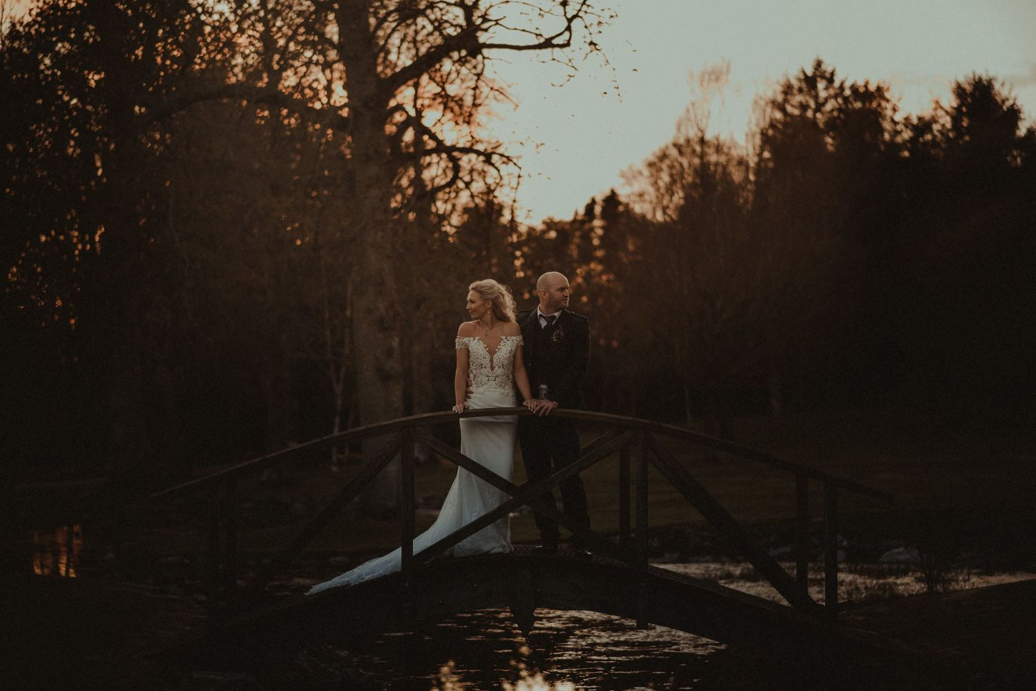 Bride and groom's wedding portrait at Elsick House grounds