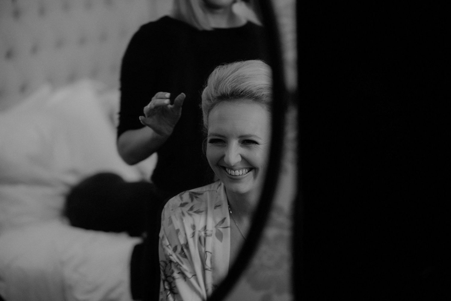 Bride getting ready for her wedding at Elsick House