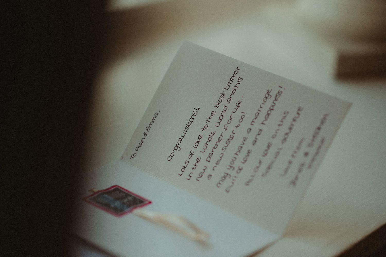 Wedding card at Elsick House