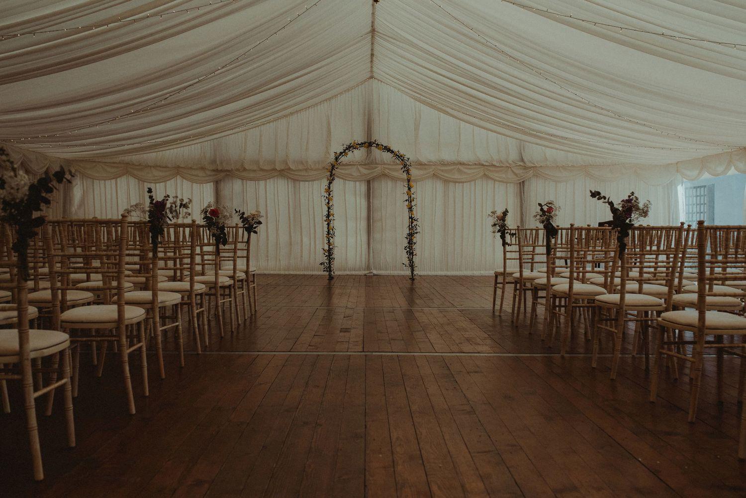 Elsick House Marquee ready for wedding