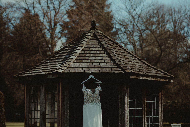 Bride's dress at Elsick House