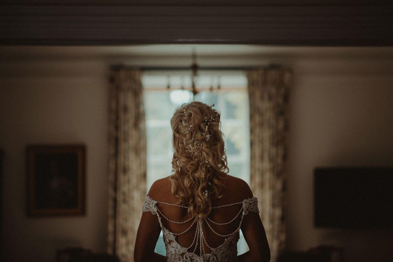 Back of bride's wedding dress at Elsick House