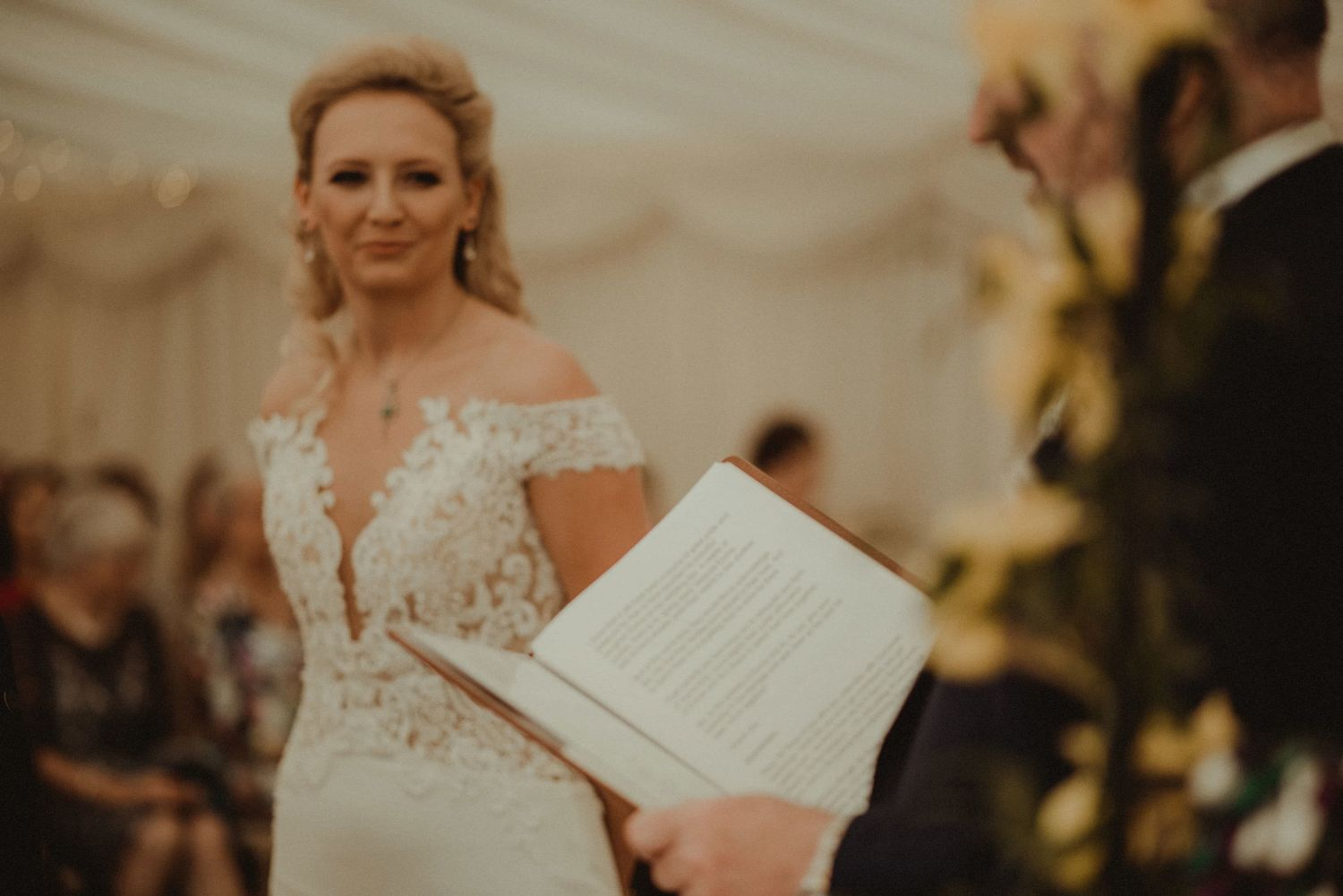 Bride and the humanist at Elsick House Wedding