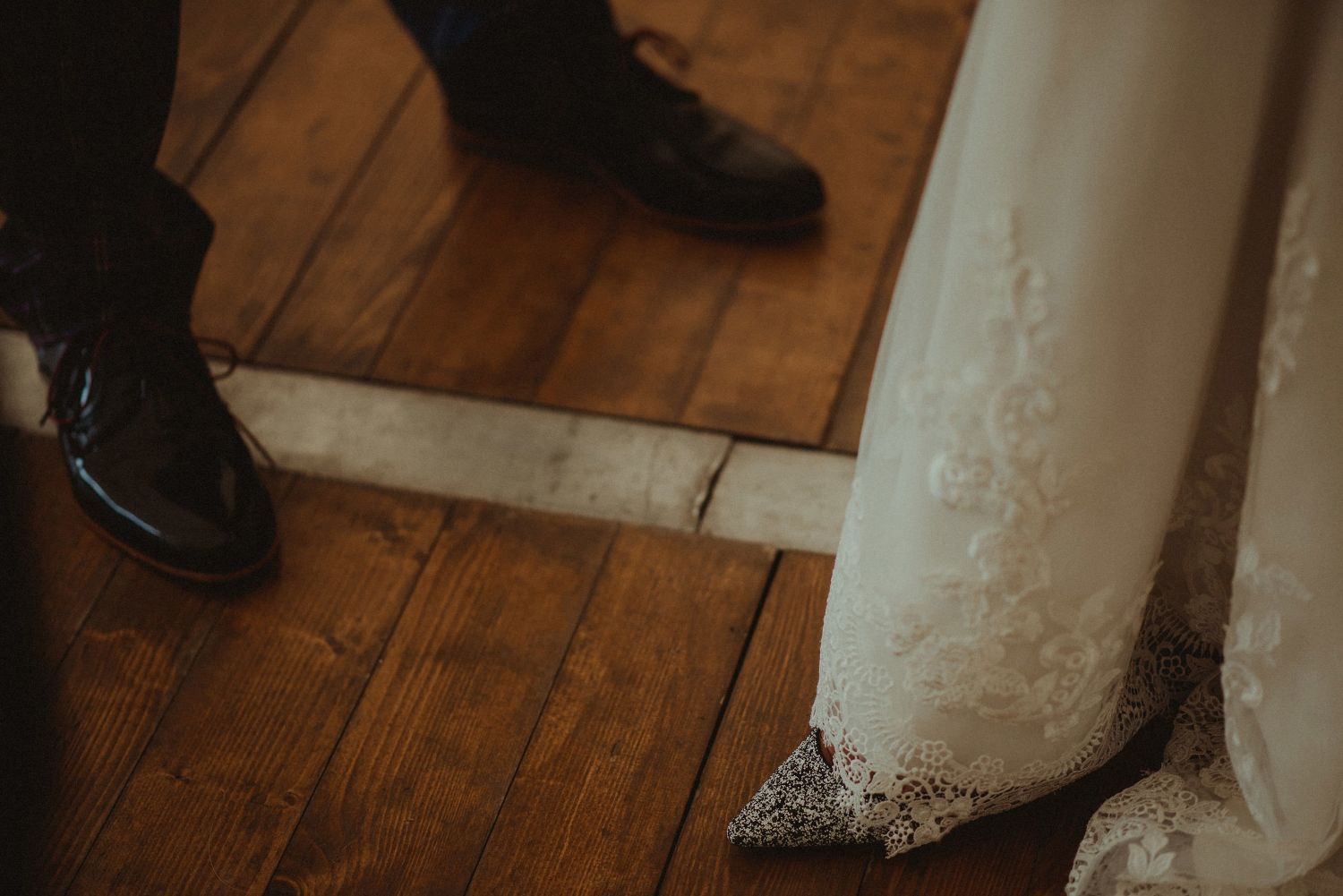 Bride and groom's shoes at Elsick House wedding