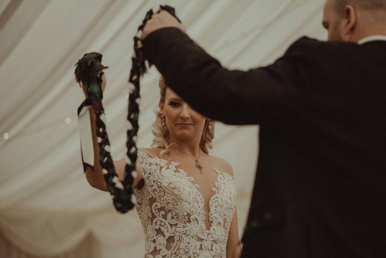 Scottish hand fastening ceremony at Elsick House wedding