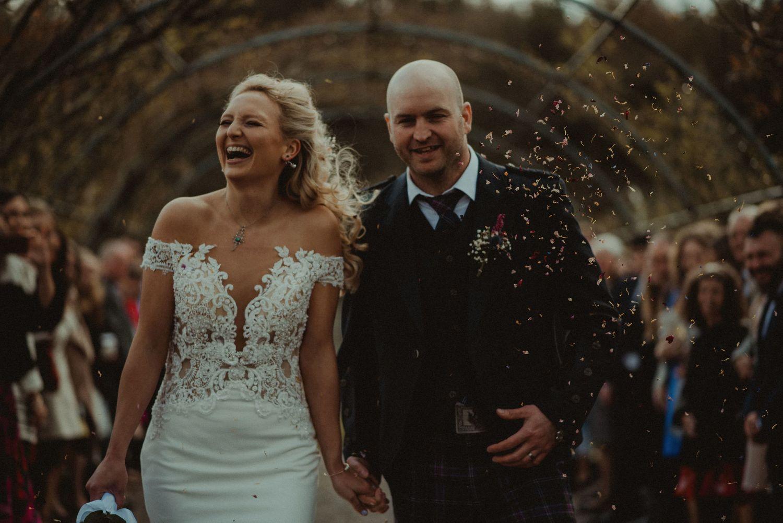 Confetti line at Elsick House Wedding