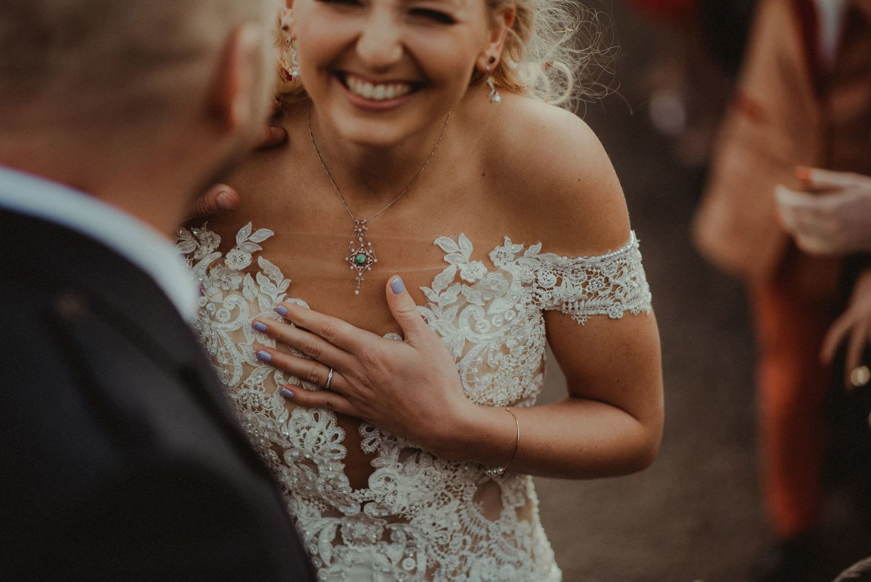 Happy bride at Elsick House