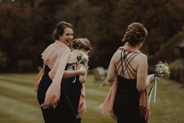 Happy bridesmaids at Elsick House wedding