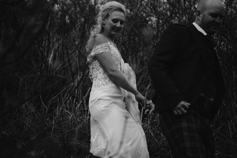 Bride and groom wedding portrait at Elsick House