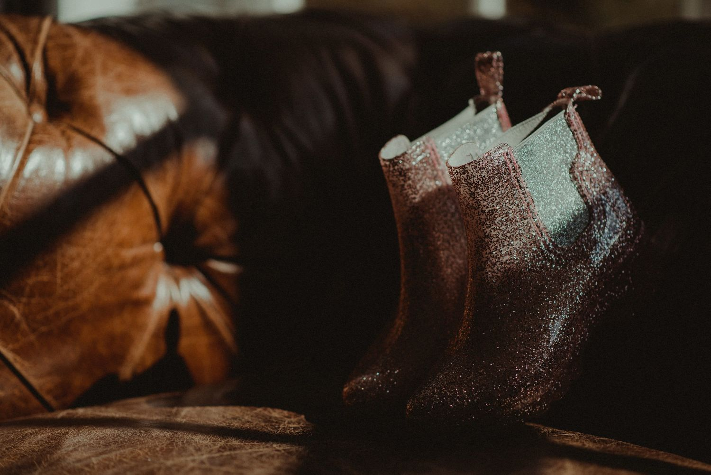 Bride's shoes at Elsick House