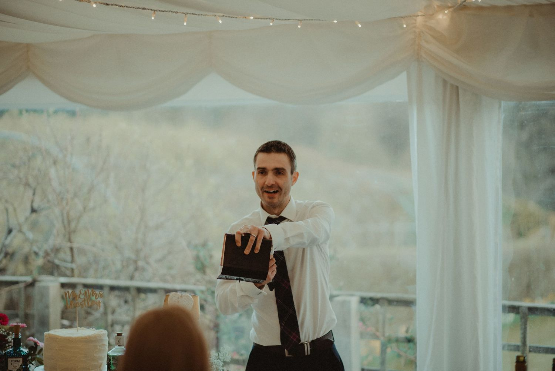 Wedding speeches at Elsick House
